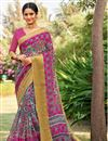 image of Cotton Silk Rani Festive Wear Saree With Printed