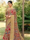image of Printed Office Wear Saree In Dark Beige Cotton Silk Fabric