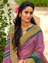 photo of Lavender Fancy Saree With Printed On Cotton Silk Fabric