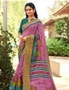 image of Lavender Fancy Saree With Printed On Cotton Silk Fabric