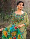 photo of Festive Wear Green Fancy Print Work Saree In Georgette Fabric