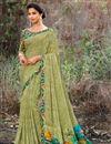 image of Festive Wear Green Fancy Print Work Saree In Georgette Fabric