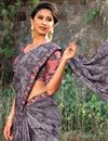 photo of Georgette Fabric Printed Grey Festive Wear Traditional Saree
