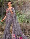 image of Georgette Fabric Printed Grey Festive Wear Traditional Saree