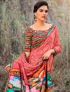 photo of Peach Function Wear Georgette Fabric Saree With Print Work
