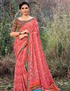 image of Peach Function Wear Georgette Fabric Saree With Print Work
