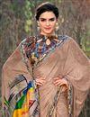 photo of Puja Wear Georgette Fabric Printed Work Saree In Dark Beige
