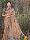 image of Puja Wear Georgette Fabric Printed Work Saree In Dark Beige