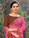 photo of Fancy Georgette Fabric Puja Wear Pink Saree With Printed Work