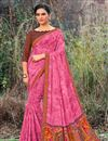 image of Fancy Georgette Fabric Puja Wear Pink Saree With Printed Work
