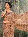 photo of Festive Wear Georgette Fabric Fancy Print Work Saree In Brown
