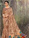 image of Festive Wear Georgette Fabric Fancy Print Work Saree In Brown