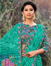 photo of Georgette Fabric Function Wear Cyan Saree With Print Work