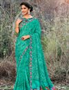 image of Georgette Fabric Function Wear Cyan Saree With Print Work