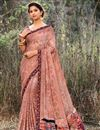image of Puja Wear Chikoo Color Printed Work Saree In Georgette Fabric