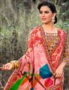 photo of Printed Work On Peach Festive Wear Georgette Fabric Saree