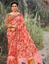 image of Printed Work On Peach Festive Wear Georgette Fabric Saree