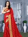 image of Art Silk Red Color Puja Wear Traditional Embroidered Saree