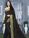 image of Fancy Black Function Wear Art Silk Saree With Embroidery Work