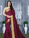 image of Traditional Burgundy Color Fancy Saree In Art Silk With Embroidery