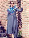 image of Chic Grey Art Silk Plain Indowestern Party Wear Kurti With Stole