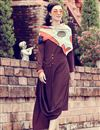 image of Trendy Solid Art Silk Indowestern Kurti In Wine With Printed Stole