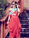image of Chic Peach Art Silk Plain Indowestern Party Wear Kurti With Stole