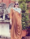 image of Elegant Plain Indowestern Beige Kurti In Art Silk With Printed Stole