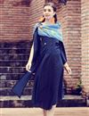 image of Classy Art Silk Navy Blue Indowesteren Kurti With Printed Stole