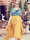 image of Classy Art Silk Indowesteren Kurti With Printed Stole In Yellow