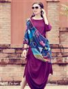 image of Trendy Solid Art Silk Indowestern Kurti In Purple With Printed Stole