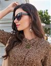 photo of Fancy Brown Party Style Printed Kurti In Pashmina Fabric