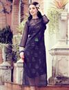 image of Fancy Navy Blue Party Style Printed Kurti In Art Silk