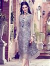 image of Grey Color Office Party Style Fancy Printed Kurti In Art Silk