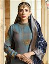 photo of Eid Special Designer Party Wear Grey Art Silk Long Anarkali Suit With Embroidery