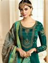 photo of Teal Designer Party Wear Art Silk Embroidered Long Anarkali Dress
