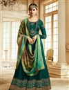image of Teal Designer Party Wear Art Silk Embroidered Long Anarkali Dress