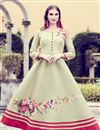 image of Art Silk Casual Wear Printed Cream Gown Style Long Kurti