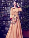 image of Printed Casual Wear Art Silk Salmon Color Gown Style Long Kurti