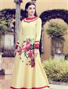 image of Beige Art Silk Printed Casual Gown Style Long Kurti