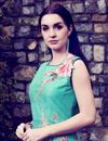 photo of Cyan Art Silk Printed Casual Gown Style Long Kurti