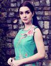 photo of Cyan Art Silk Printed Casual Gown Style Long Kurti