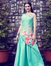 image of Cyan Art Silk Printed Casual Gown Style Long Kurti