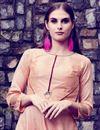 photo of Printed Casual Wear Peach Art Silk Gown Style Long Kurti