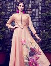 image of Printed Casual Wear Peach Art Silk Gown Style Long Kurti