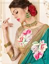 photo of Printed Art Silk Fabric Designer Saree In Cyan Color