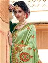 photo of Designer Function Wear Fancy Sea Green Traditional Art Silk Embroidered Saree