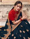 photo of Navy Blue Sangeet Wear Art Silk Designer Traditional Saree With Heavy Embroidery