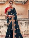 image of Navy Blue Sangeet Wear Art Silk Designer Traditional Saree With Heavy Embroidery