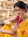 photo of Eid Special Designer Function Wear Fancy Mustard Traditional Art Silk Embroidered Saree